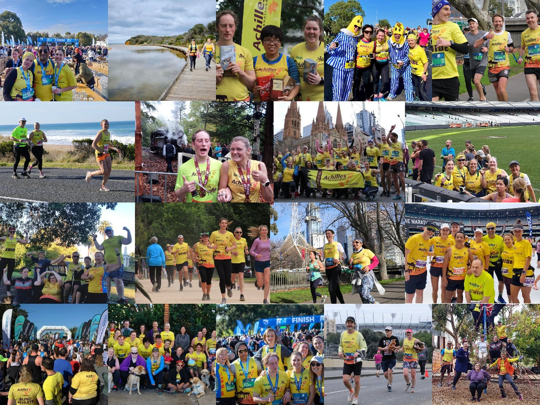 A collage of 13 photos, mostly group shots at major events: Run Melbourne, Stadium Stomp, Melbourne Marathon, Puffing Billy, but also shots from strength wednesdays, Tan training sessions and trail running excursions.